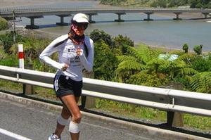 Ultramarathoner Lisa Tamati, doing the hard yards north of New Plymouth on her epic 2,200km run the length of New Zealand.