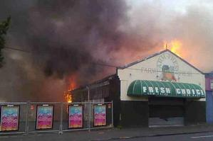 The fire on Great North Road. Photo / David Fisher.