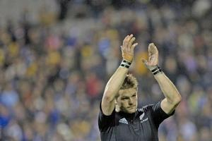 Richie McCaw got the trophy for best player of the year. Photo / Richard Robinson