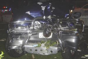 The car after it was driven into a Hamilton house. Photo / Supplied