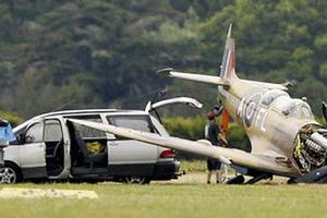 The rare two seater Spitfire at Ardmore Airport after today's crash. Photo / NZPA
