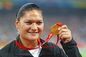 Valerie Vili threw 21.07m at the World Athletics Championships, smashing her New Zealand and Oceania records  by 38cm. Photo / Getty Images
