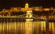 The illuminated Chain Bridge over the Danube river which connects Pest and Buda, the two parts of the Hungarian capital Budapest. Photo / AP