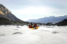 Fifty years ago, the Terminal Lake at the end of the Tasman Glacier had only just appeared. Photo / Sarah Ivey