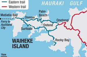 The two main proposed cycleway routes for Waiheke. Photo / Herald graphic
