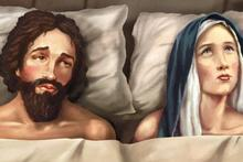 The St Matthew-in-the-City Church billboard implies Mary is no longer a virgin. Photo / Supplied