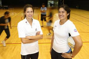 School girls Kayla Cullen (left) and Sulu Tone-Fitzpatrick have been signed up with the Northern Mystics to play in the ANZ Championship next year. Photo / Richard Robinson
