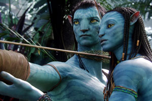 Actors Sam Worthington and Zoe Saldana portray Jake Sully (L) and Na'vi princess Neytiri (R) in Avatar. Photo / Supplied