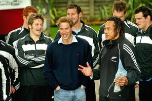 Prince William, pictured with the 2005 All Blacks, will inspect progress on Eden Park's Rugby World Cup makeover during a two-day visit to New Zealand next month. Photo / Kenny Rodger