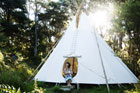 For a camping experience with a difference, check in to Raglan's Solscape Eco Retreat, where you can sleep in a teepee. Photo / Supplied