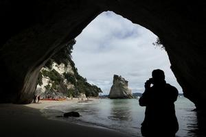 Visitors can explore the unusual rock formations that characterise the stretch of untouched coastline along the Coromandel Peninsula. Photo / Alan Gibson