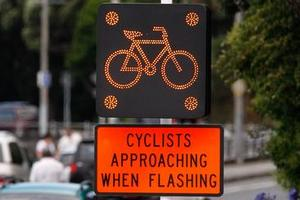 Electronic loops triggered by cycles flash up a warning to motorists. Photo / Brett Phibbs