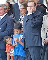Te Ao Kohatu, 6 (L), and Tumai, 7, keep the PM company during the powhiri at Te Tii Marae. Photo / Brett Phibbs