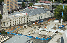 Work continues on the Civic carpark by the Auckland Town Hall. Photo / Dean Purcell