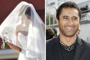 The bride wore a strapless white dress with a sweetheart neckline, and a veil that reached to her ankles. Cliff Curtis (right) wanted a private wedding. Photos / Doug Sherring, Getty Images