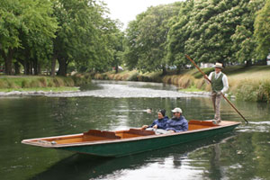 Punting in the Avon is a great way to explore Christchurch at any time of year. Photo / Jim Eagles