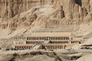 Taking photos in the Valley of the Kings is not allowed. This image is of Hatshepsut Temple, a mortuary temple that lies just over the mountains from the valley. Photo / Jill Worrall