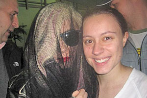 Lady Gaga poses with fan Samantha Bellingham in Auckland. Photo / Samantha Bellingham