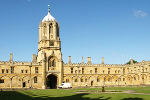 The Great Quadrangle and the Tom Tower, designed by Sir Christopher Wren, at Christ Church College, Oxford. Photo / Pamela Wade