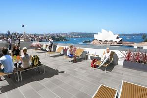 There are amazing views from the roof of the Sydney Harbour Youth Hostel, which shares a block with the city's priciest hotel. Photo / Supplied