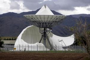 The damaged satellite dome at Waihopai satellite communications interception station. Photo / Tim Cuff