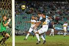 Chris Payne of Sydney scores the second goal during the A-League preliminary final match between Sydney FC and the Wellington Phoenix. Photo / Getty Images