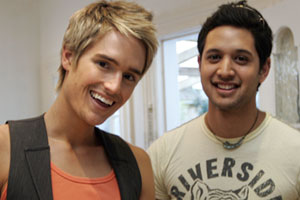 Grayson Coutts and boyfriend Andy at home in Ponsonby. Photo / Doug Sherring