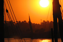 Sunset over the Nile at Luxor. Photo / Jill Worrall