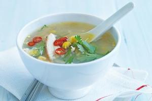 Chicken, ginger and corn soup. Photo / Supplied