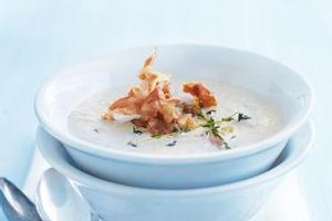 Creamy mushroom and pancetta soup. Photo / Supplied