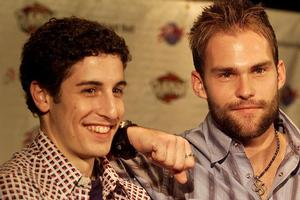 Jason Biggs and Seann William Scott on the American Pie promo circuit. Photo / Getty Images