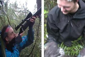 The YouTube clip shows a kereru falling from a tree after being shot by one of the tourists. Photo / Supplied
