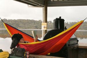 Sleeping out at Lake Mahinapua. Photo / Jim Eagles