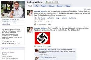 Andrew Williams says he will remove the offending item comparing Rodney Hide and Hitler.