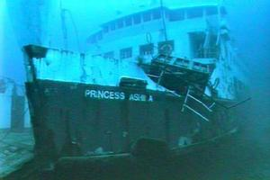 The sunken Princess Ashika. Photo / NZ Navy