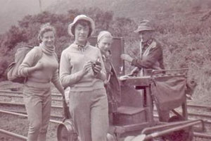 Moira Dye's picture of herself and friends enjoying a jigger ride across the Southern Alps. Photo / Supplied.