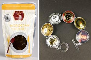 Moroccan Chutney created by Maria's Kitchens in Karori and a bracelet made from champagne tops created by  Auckland designer Alison Boyce. Photos / Supplied