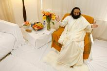 Sri Sri (Rev) Ravi Shankar's Auckland hotel room was covered in white sheets. Photo / Steven McNicholl