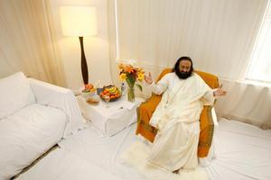 Sri Sri (Rev) Ravi Shankar's Auckland hotel room was covered in white sheets. Photo / Steven McNicholl
