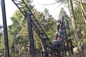 The new ride Thirteen at UK theme park Alton Towers is a 'psychoaster' - a ride so disturbing riders must sign a waiver to attest to their mental stability. Photo / Supplied