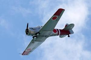 A Japanese fighter plane takes part in a re-enactment of a WWII air battle. Photo / NZPA