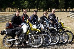 The 51st Traverse motorbike team: (L-R) Rob Gray, Rob Climo, Misha Kravcenko,Tom Anselmi and Mike Jacobson. Photo / Richard Robinson