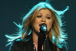 Grammy winner Kelly Clarkson at the Vector Arena last night. Photo / Greg Bowker