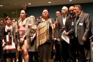 Maori Party co-leader Pita Sharples (right)  celebrates endorsement of the UN declaration. Photo / Supplied