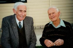 Murray Newman (left) and Bert Jones at the 25th wedding anniversary celebrations of Murray's daughter Ann and Bert's son Peter, in Alexandra, in 1994. Photo / Supplied