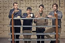 For the fangs: Vampire Weekend (from left) Chris Baio, Rostam Batmanglij, Ezra Koenig and Christopher Tomson and (below) at the Coachella Festival, California, this month. Photo / Supplied