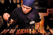 There's a special art to preparing Japanese yakitori as seen here at Ken Yakitori. Photo / Babiche Martens