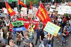 Protesters gather in the CBD to protest against Government mining plans. Photo / NZPA