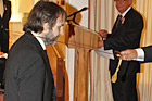 Peter Jackson is knighted by Sir Anand Satyanand. Photo / Pool