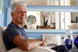 Rodney Fumpston in the blue corner of his living area at his home in Morningside. Photo / Sarah Ivey